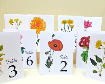 Flower Table Cards, Flower Table Numbers, Flower Table Tents, Botanical Table Cards, Botanical Table Tents, Vintage Floral Table Cards