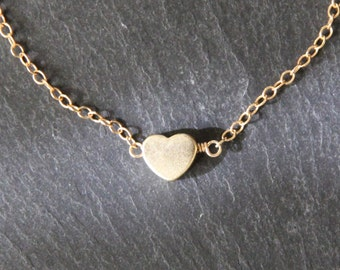 Gold Heart Necklace 3D Gold Heart Charm Rose Gold Heart Mini Gold Heart Necklace