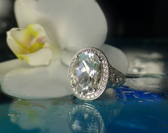 Herkimer Diamond Engagement Ring Elegant Oval Design