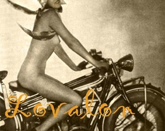 MATURE... 1930's Motorcycle Girl...Deluxe Erotic Art Print... 1920's Vintage Nude Glamour Photo... Available In Various Sizes