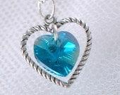 Blue Zircon Swarovski Crystal Heart Necklace - December Birthstone - Silver Heart Charm - Gifts Under 15