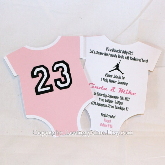 jordan jumpman inspired baby shower unique onepiece shape invitations