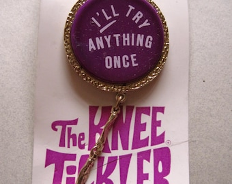 "1960s Brooch Pin "" I'll Try Anything Once "" Mini Skirt Knee Tickler Original Card Mod Laugh-In vintage costume jewelry MoonlightMartini"