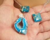 Geode Slice Necklace, Druzy Jasper Necklace, Sterling Silver, Aqua Quartz Druzy Necklace, Jasper Gemstone, One of a Kind
