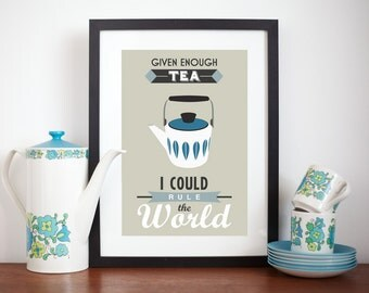 Tea Poster, Tea Wall Decor, Kitchen Poster, Retro Tea, Kitchen Wall Art, Cathrineholm, Tea Art, Given Enough Tea,  Mid Century Modern, A3
