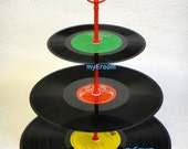 3 tier Vinyl Record Cupcake Stand Retro Cake Stand