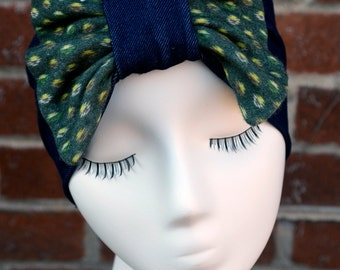 Vintage Print Boba Bow with Denim Headband