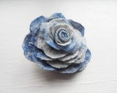 Felted Flower Brooch pin Wool Hair Clip Corsage White and Blue Rose