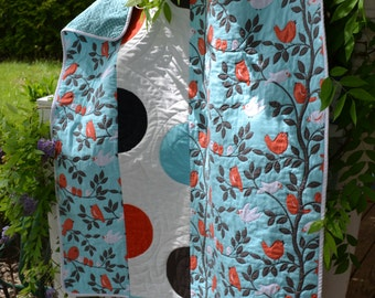 Modern Quilt Handmade Mod Graduation Gift Baby Child Lap Quilt Birds on Branches Dots Blue and Orange Quilt