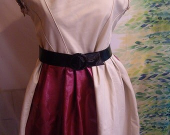 TMD: Pink /cream Italian  lamb skin baby doll dress..CUSTOM order only