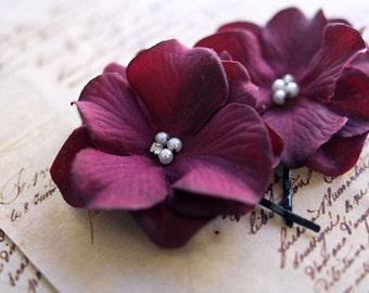 Purple Flower Hair Clips, Bridal Hair Pins, Bridesmaids Hair Flowers, Autumn Wedding Hair Accessories, Plum Hydrangea Hair Clips - set of 2