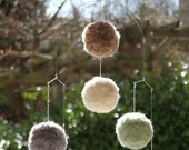 Baby Mobile for Nursery, Pom Pom Mobile 001 - Down to Earth  - Natural Colours Beige, Grey, Cream, Seafoam.