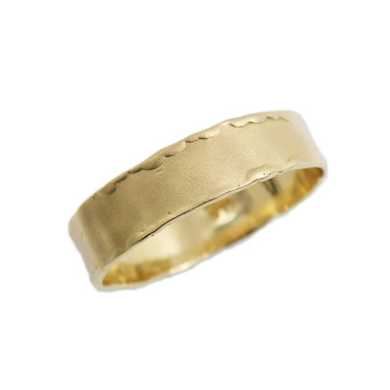 14K Matte Gold Wedding Band Yellow Gold Wedding Band Curvy