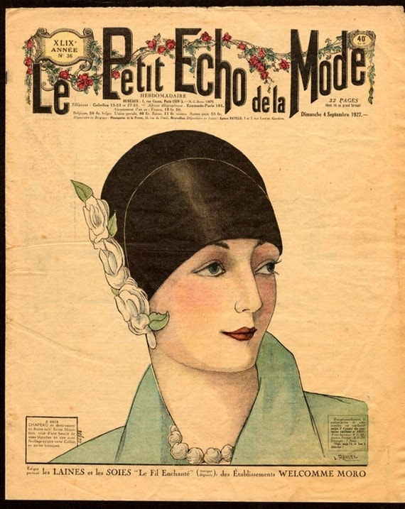 items similar to ladies fashion magazine cover le petit echo de la mode art deco fashion. Black Bedroom Furniture Sets. Home Design Ideas