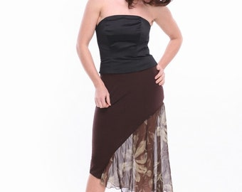 Brown jersey / chiffon skirt