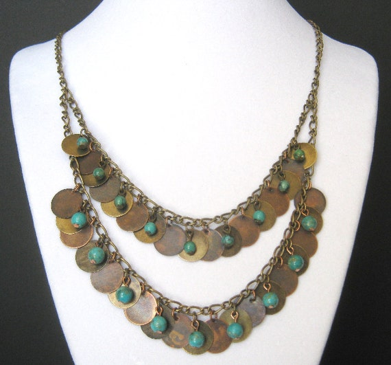 Kahleesi Necklace Turquoise Copper and Bronze Set