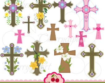 Easter Crosses digital clipart set-Crosses digital clipart-for  Personal and Commercial Use