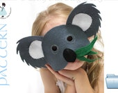 Felt Koala Mask pattern.  INSTANT DOWNLOAD sewing pattern for koala mask kids costume PDF.