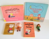 Vintage Peanuts! Charlie Brown & Snoopy Lot. Books, Comic Strips, Toy Figures and Peppermint Patty. Era 1960 1970 60 70 collectible Cartoons