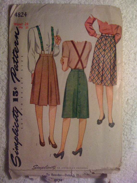 40s Simplicity Sewing Pattern 4824 Misses and Womens Skirts Sale