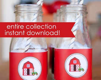 Farm party printables. Barnyard party printables.Instant Download