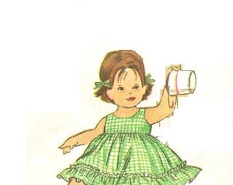Simplicity 4376 UNCUT Vintage 60s Adorable Toddler Girls Sun Dress, Hat and Dress Sewing Pattern Size 3