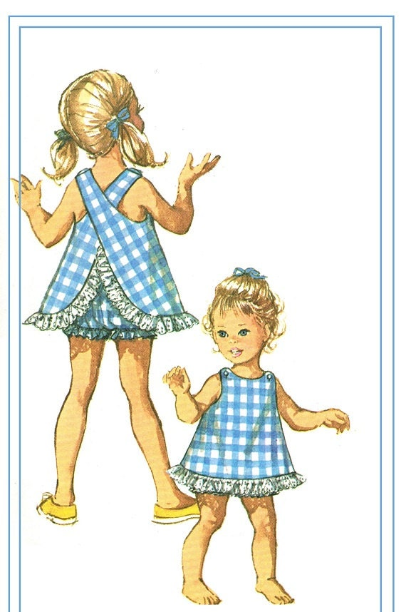Simplicity 8165 Vintage 60s Adorable Toddler Girl Criss Cross