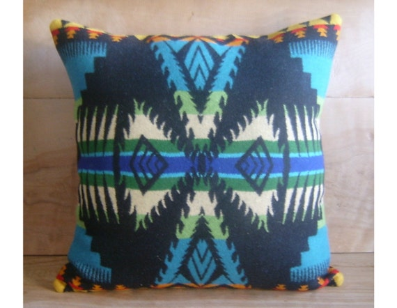 Wool Pillow - Turquoise Native Geometric Tribal Arrows