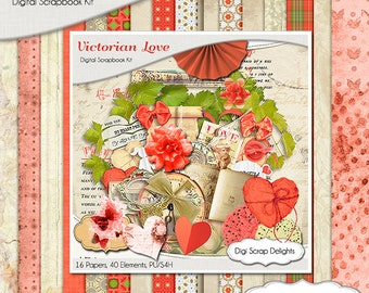 Victorian Love Digital Scrapbook Kit w Coral, Beige, Vintage Instant Download. Great for Bible journaling Digitally