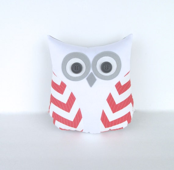 owl pillow, animal pillow, decorative pillow, coral and white chevron, nursery decor, gift under 40 by whimsysweetwhimsy