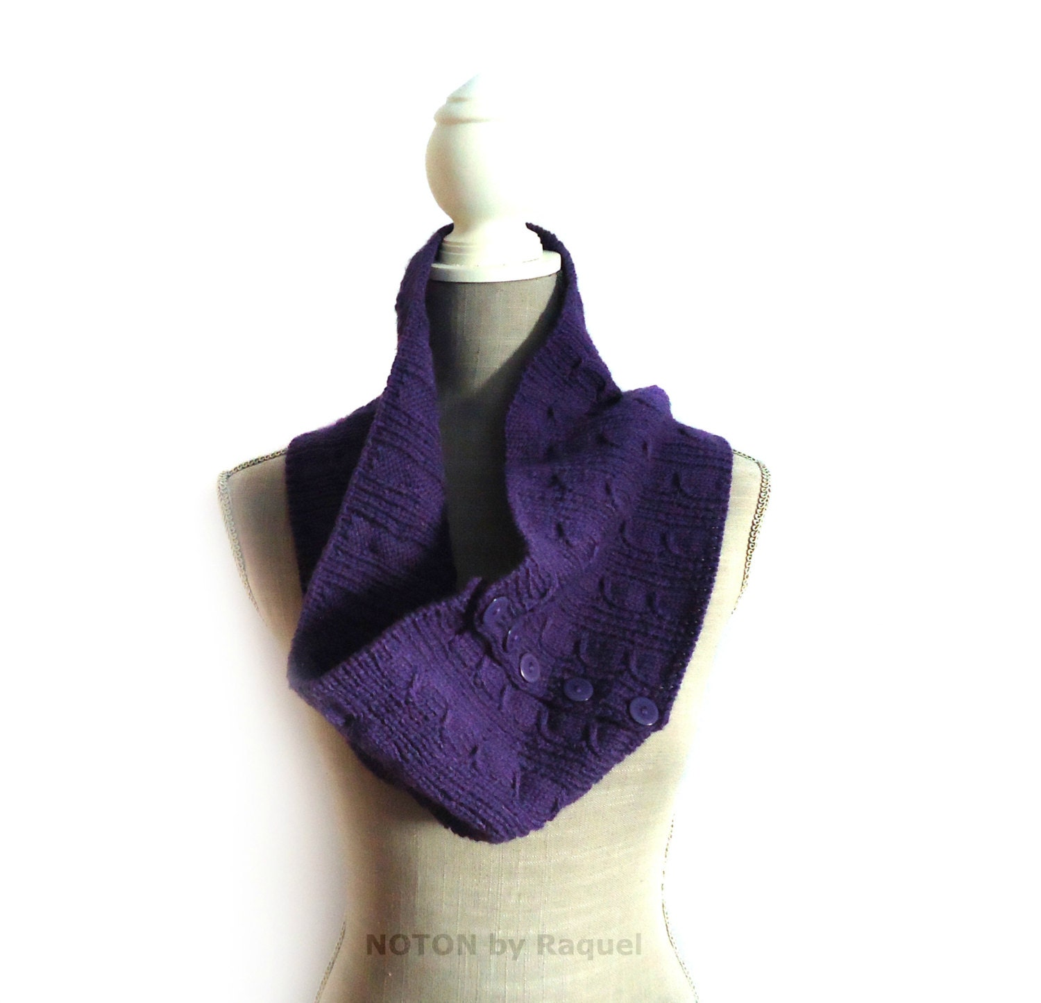purple knit cowl cowl scarf with buttons knit by notonbyraquel
