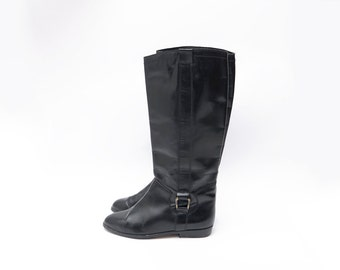 Vintage black leather patent classic women riding boots