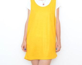 Vintage yellow basketball mini dress / basketball tank top