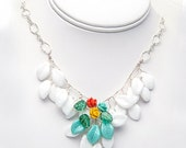 White turquoise flower necklace in Turquoise Peach Yellow, Bib Necklace, Nature Jewelry, Bridal Jewelry