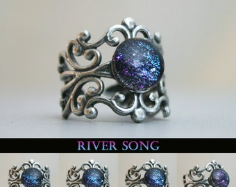River Song Inspired Antique Silver Cuff Ring