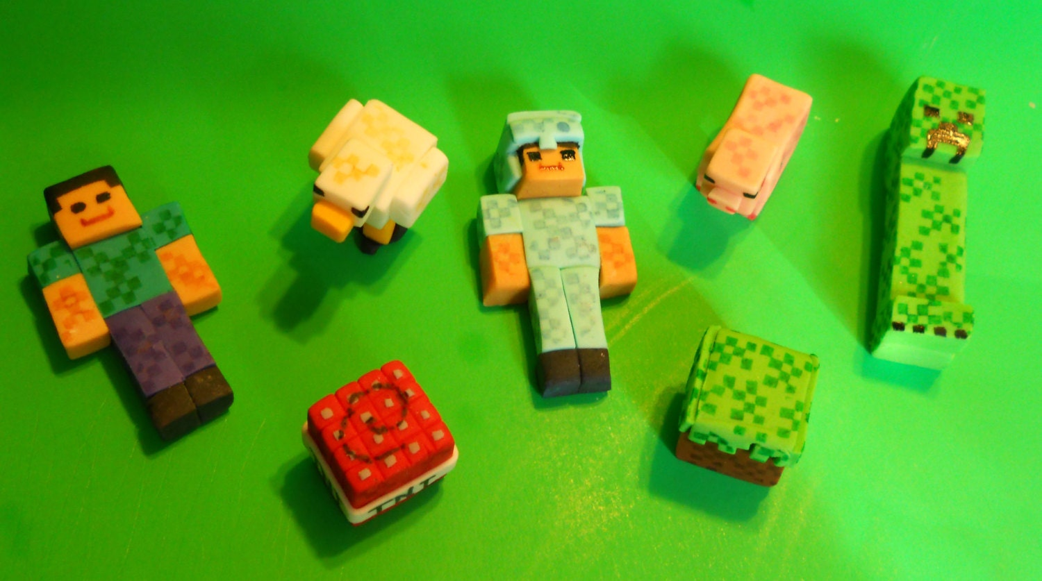 Cake Toppers Minecraft Uk : Steve TNT Armor Creeper and More Cake Topper Decorations