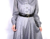 Vintage shirtwaist dress of gray with navy & pink print in cotton sateen from 1950s size L // luncheon dress