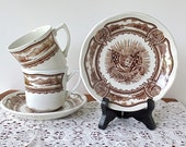 J & G Meakin Americana Cup and Saucer Set  / English Ironstone / Brown Transferware / Set of Two