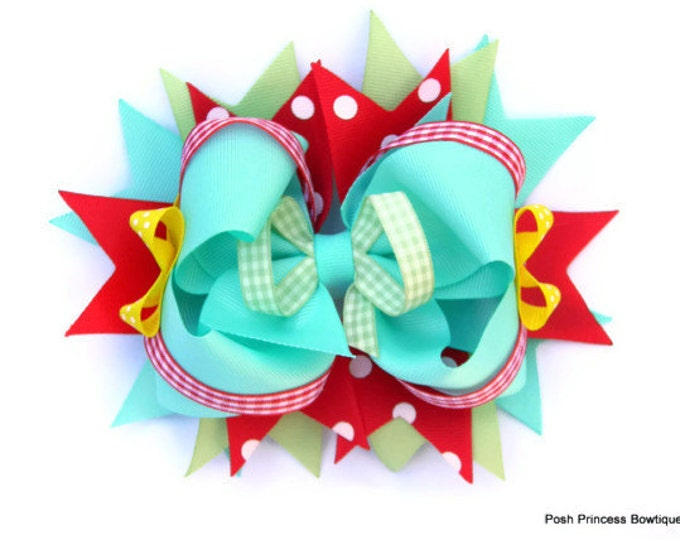 Girls hair bows, Hair bow for girls Aqua Red Gingham Girls hair bows Boutique hair bow Stacked hair bow