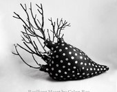 Resilient Heart - Black and Silver - Ceramic Sculpture Clay Mixed Media OOAK by Calan Ree
