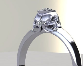 Double Skull Engagement Ring Diamond Halo White Rose Yellow Gold Possible