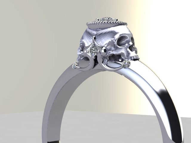 Double Skull Engagement Ring Diamond Halo White Rose Yellow