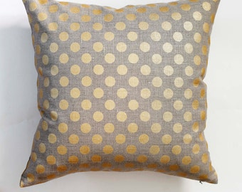 Linen gray pillow cover with gold print dots - decorative covers - shams - throw pillows - polka dot pattern- 20x20   0106