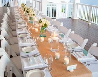"Burlap Table Runner - Choose your width by 120"" (10 feet) long Premium Natural Burlap - Wedding or Party - burlap runners"