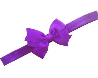 Purple bow headband - purple baby headband, purple newborn headband, bow headband, baby bow headband, purple headband, baby girl