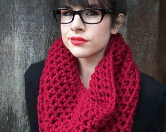 READY TO SHIP cranberry red garnet chunky crochet cowl neck warmer handmade infinity eternity loop circle scarlet scarf women gift