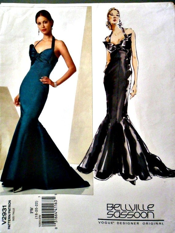 Mermaid Style Halter Formal Evening Gown Vogue Designer Original 2931 Belleville Sassoon Size 18 20 22 Plus Size