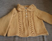 Hand knitted soft gold Sirdar Snuggly wool for baby girls cardigan,to fit approx. 3-6 months Sweater Baby gift,Xmas gift Spring Fall Winter