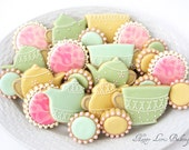 Tea Party Cookies Mother's Day Wedding Shower Flower Lace Tea Cup Pot Kettle Decorated Royal Icing Sugar Cookies