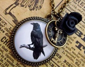 Steampunk Raven Necklace - Gothic Crow Cabochon Photo Jewelry Pendant Halloween